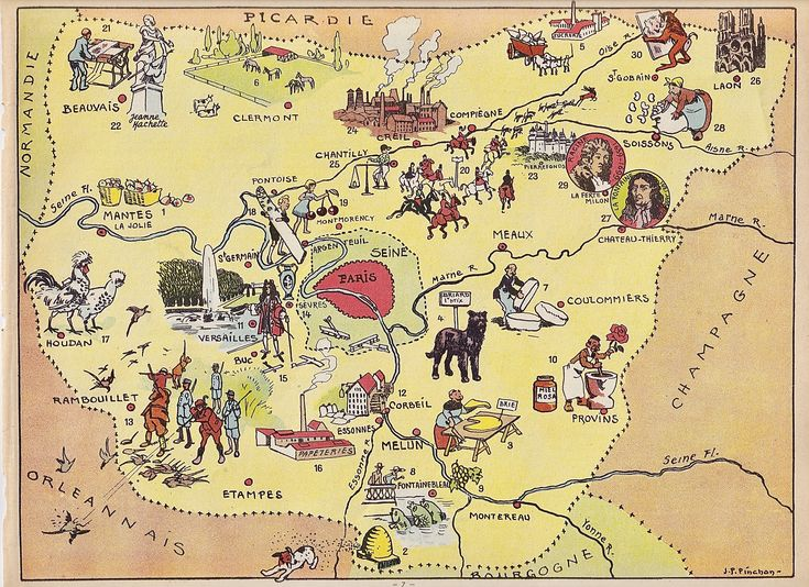 French ,Carte de l'ile de France ,planche illustrée originale provenant d'un livre ancien ,les ...