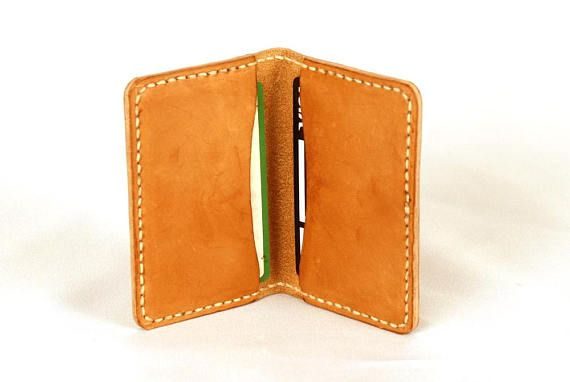 Natural leather card holder, Bi-fold card case, Leather card case, Business card holder, , Credit card case, Card wallet, Minimal design. Natural leather card holder, minimal design. Bifold card case with capacity for 6 credit cards. Beautiful gift for her or his. For writing lovers and for
