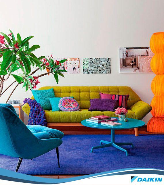Muitas cores dão vida a sua sala! #colours #DaikinInova #livinroom