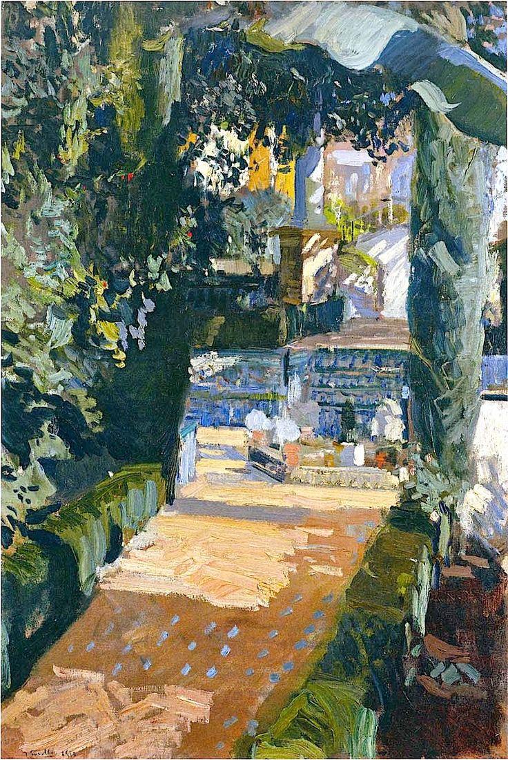 Courtyard of the Dances, Alcazar of Sevilla / Joaquin Sorolla y Bastida - 1910