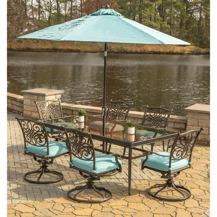 Hanover Traditions 7-Piece Dining Set in Blue with Extra Large Glass-Top Dining Table, 9 Ft. Table Umbrella, and Umbrella Stand (Blue), Size 7-Piece Sets, Patio Furniture