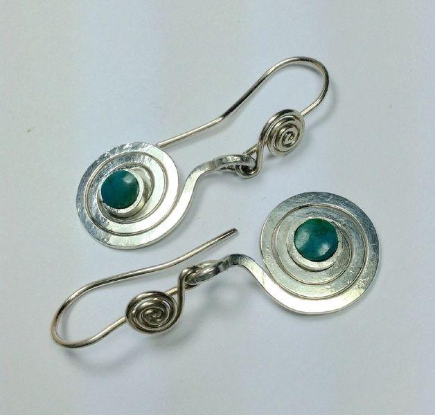 "Silberspiralen ""espiral de la vida"" mit Chrysokol von LaSombrilla auf DaWanda.com"