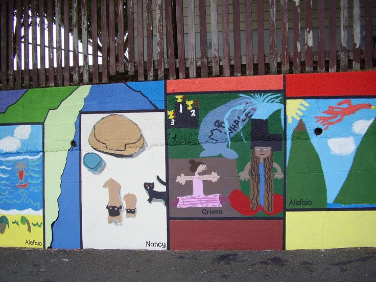 "Part of ""Patch-work"" Mural painted by pupil's, supervised/facilitated by Ellen. Berhampore School, Britomart Street, Berhampore, Wellington."
