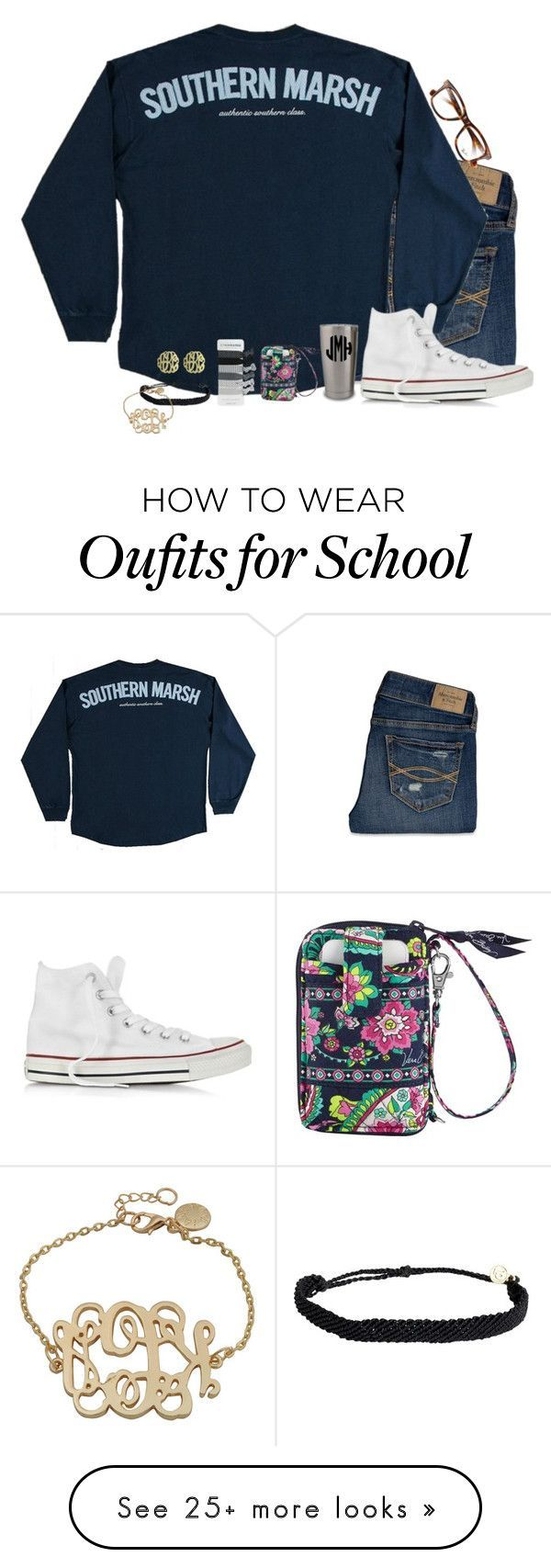 """""""Last Day of exams and school """" by remiii13 on Polyvore featuring Abercrombie & Fitch, Converse, Ray-Ban, Vera Bradley, Pura Vida and Initial Reaction"""