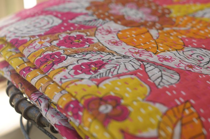 Her Shed Pink Floral Kantha Throw $129.00 These vibrant kanthas are part of Her Shed's Vintage Raj collection. Add some ethical chic to your home with these unique pieces, handcrafted by village artisans.  Throws measure 152 x 229 cms and can also be used as a single bed quilt.  Made from 100% cotton.