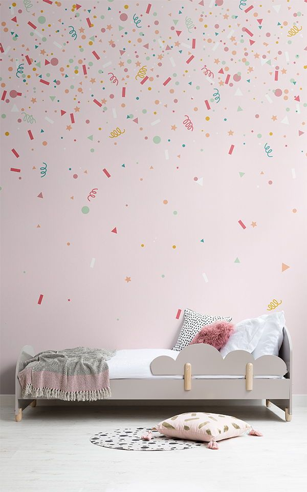 Our Confetti Inspired Wallpapers Are Perfect Celebration Decor For A Cute Nursery Or Kids Ro Confetti Wallpaper Interior Paint Colors For Living Room Girl Room