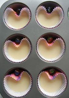 Make heart shaped cupcakes by baking with a marble between the liner and pan