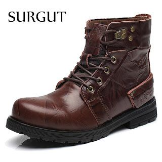 SURGUT Brand Waterproof Winter Warm Snow Boots Men Cow Split Leather Motorcycle Ankle Fashion High Cut Male Casual Clearance (32736465043)  SEE MORE  #SuperDeals