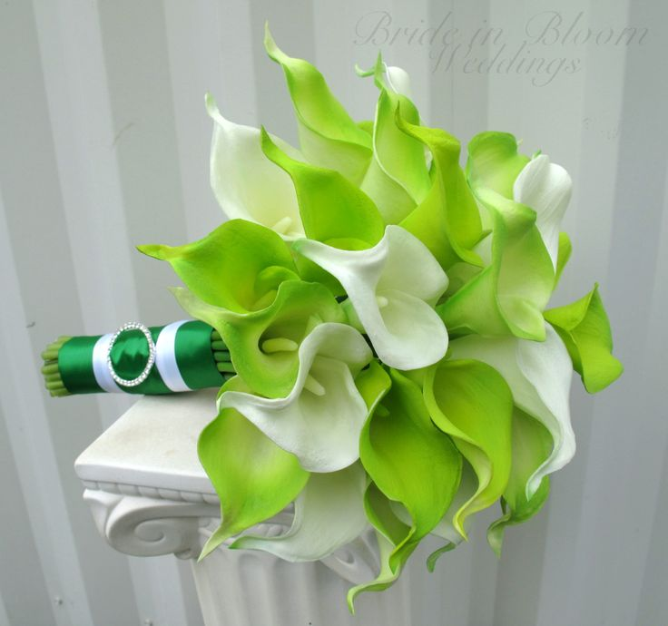 Lime green real touch calla lily Wedding by BrideinBloomWeddings