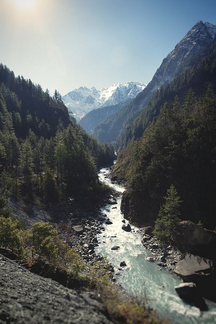 Nepal by Kelsey Austin: river thorugh mountains + forest | nature landscape travel wanderlust