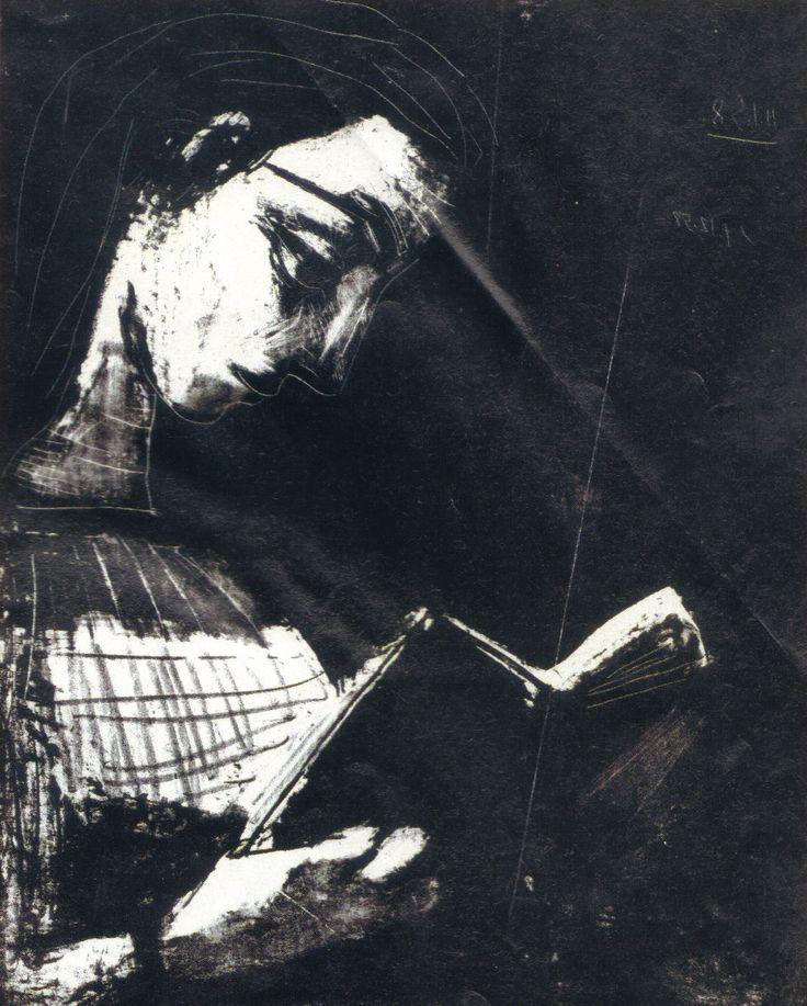 "Picasso:""Jacqueline leyendo""litografia,1953."