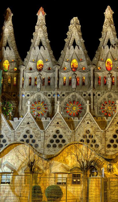 Barcelona - Three Tiers - Sagrada Familia At Night - Gaudi - Weston Westmoreland