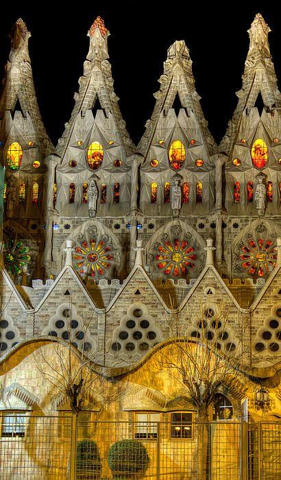 Barcelona - Three Tiers - Sagrada Familia At Night - Gaudi - Weston Westmoreland