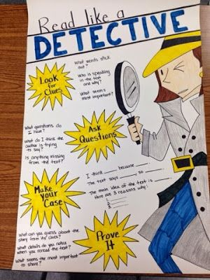 "Adorable ""Read like a Detective"" Anchor Chart"