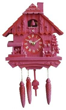 Present Time Silly Cuckoo Clock, Polyresin, Pink - eclectic - clocks - Casa