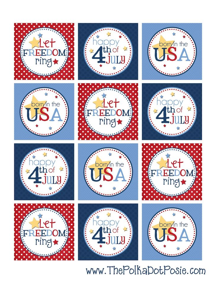 """Cute 4th of July Printable 2"""" TagsPolka Dots, Dots Posies, Cupcakes Toppers, July Printables, Free 4Th, 4Th Of July, July 4Th, Printables Tags, Free Printables"""