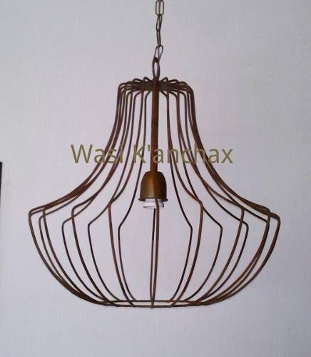 Iluminación Lampara Colgante En Hierro Acabado Oxido - $ 630,00