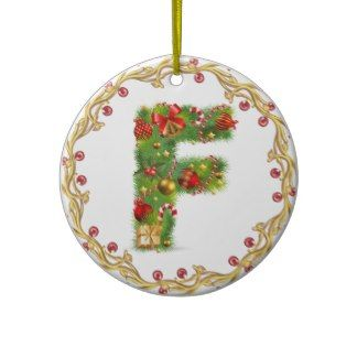 initial F monogrammed christmas ornament - circle
