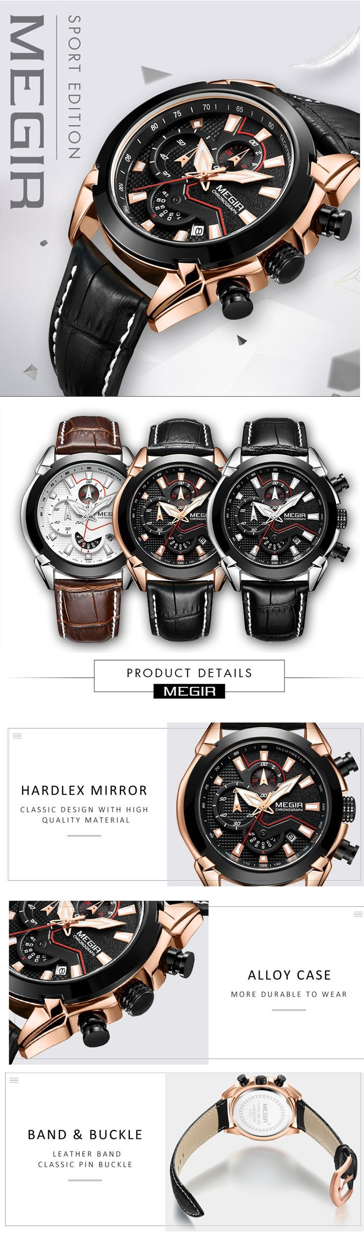Men's luxury sport watches - Megir 2065 Leather band watch timepiece chronograph - men's top brand style affordable fashion accessories #menswatch #leatherwatch #watches