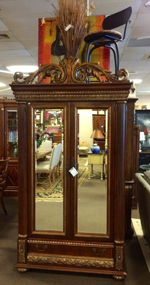 Horchow Ornate Mahogany U0026 Gold Clothing Or Media A Armoire With Mirrored  Doors.
