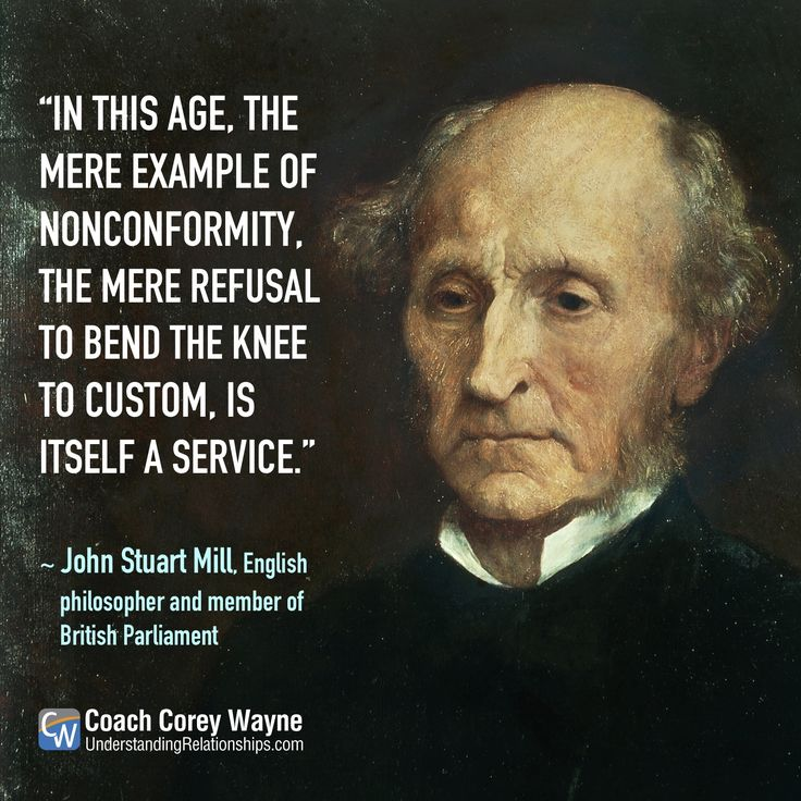"""#johnstuartmill #english #philosophy #british #parliament #economics #liberalism #nonconformity #government #politics #coachcoreywayne #greatquotes Photo by DeAgostini/Getty Images """"In this age, the mere example of nonconformity, the mere refusal to bend the knee to custom, is itself a service."""" ~ John Stuart Mill"""