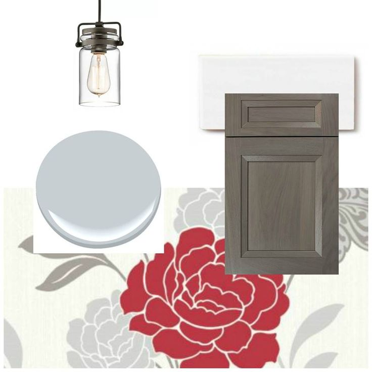 With beautiful walnut cabinetry and a fun floral motif August's #moodboardmonday is a recipe for the perfect farmhouse!   Pendant Lights: Kichler Pendant in Olde Bronze from Lighting Direct Doorstyle: Whitney II Recessed Matte Shale on Walnut by Wood-Mode Custom Cabinetry  Tile Backsplash: 2 x 4 White Wash Subway Tile by Fireclay Tile  Patterned Wallpaper: Carla Motif in Red Wallpaper by Wallpaperdirect  Paint Color: Sweet Innocence by Benjamin Moore