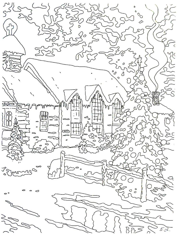 Christmas Chapel I Thomas Kinkade Painting Coloring Book