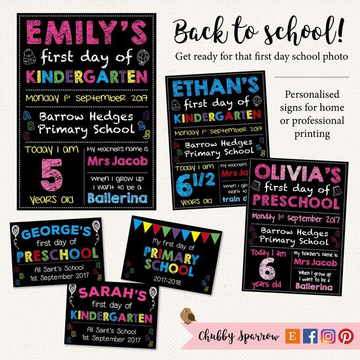 Personalised back to school prints, first day preschool, kindergarten.