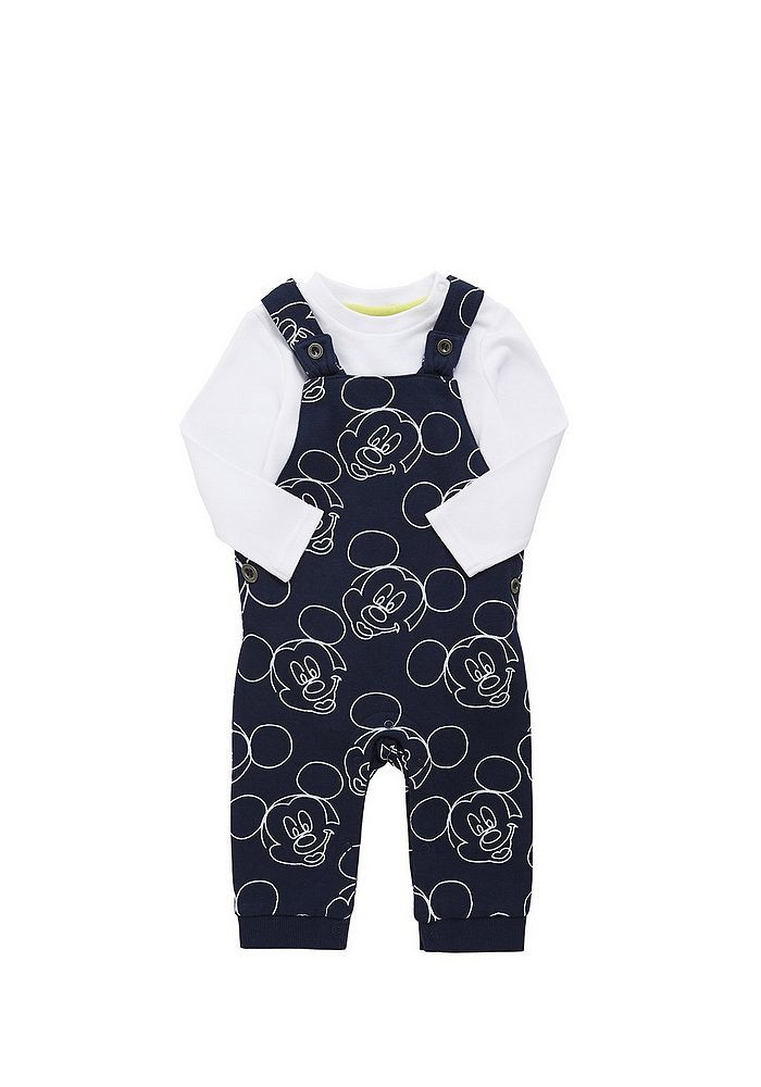 dfa91a3044df Tesco direct  Disney Mickey Mouse Dungaree and Long Sleeve Bodysuit ...