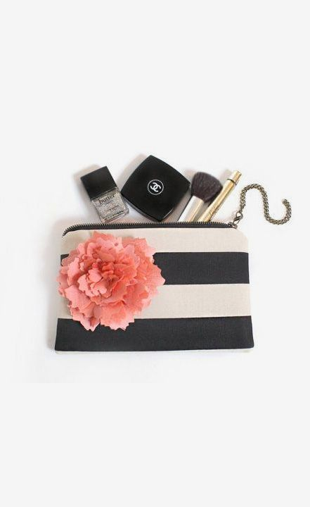 Black Stripe clutch purse, bridesmaid gift idea by eclu / stripes / makeup clutches / Chanel makeup / lipstick / purse