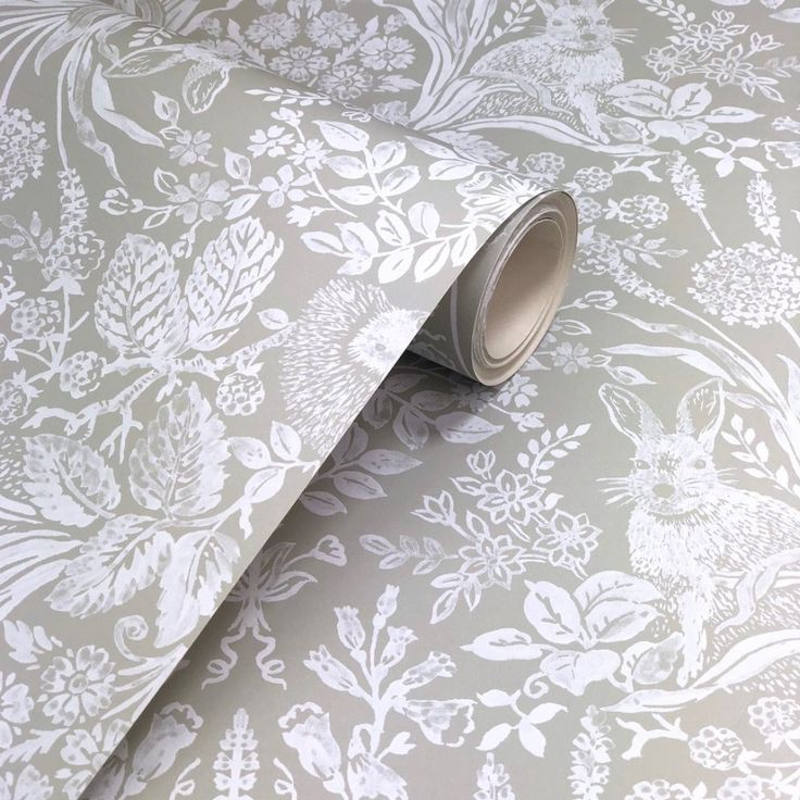 Holden Decor Harlen Sage Wallpaper. Harlen from the Holden Decor Statement collection. A beautiful woodland animal design with delicate wild flowers, hedgehogs, rabbits and butterflies in a handprinted vintage style on a soft sage green background.