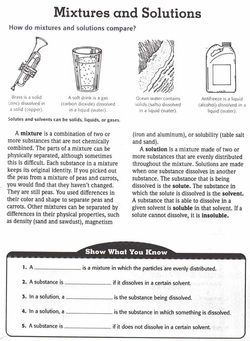 Mixtures and Solutions Worksheet - plus other science topics and worksheets