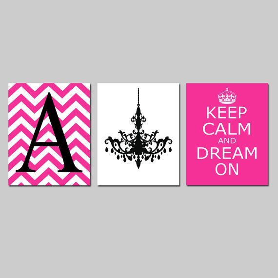 Keep Calm and Dream On, Chevron Monogram Initial, Chandelier Trio - Set of Three 8x10 Prints - Choose Your Colors - Teen Girl Bedroom Art on Etsy, $55.00