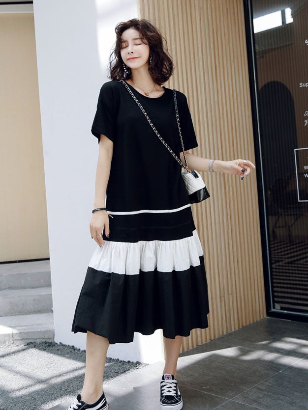 bf6560c6295 Wholesale Chic Color Matching Pleated T-shirts Dresses EFG051751