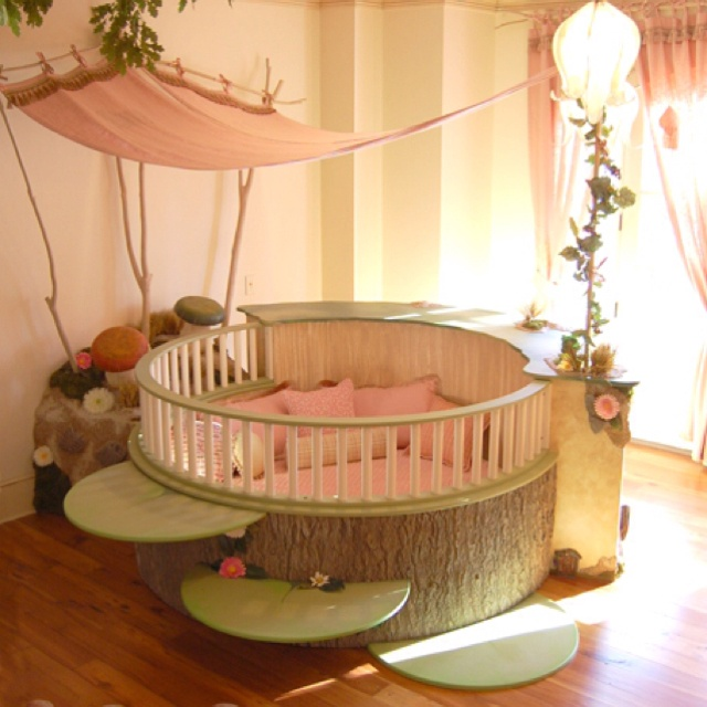 Large Round Baby Crib With Lily Pad Steps And Canopy