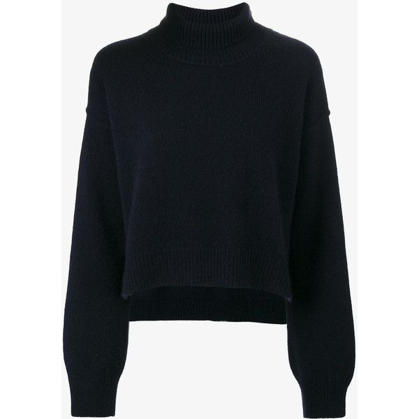 Rejina Pyo  Cropped turtleneck jumper ($630) ❤ liked on Polyvore featuring tops, sweaters, blue, oversized sweater, wool sweaters, oversized cropped sweater, long sleeve sweater and long sleeve crop top