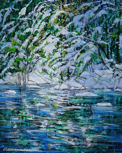 Bev Rodin, 'Winter Shore', 16'' x 20'' | Galerie d'art - Au P'tit Bonheur - Art Gallery