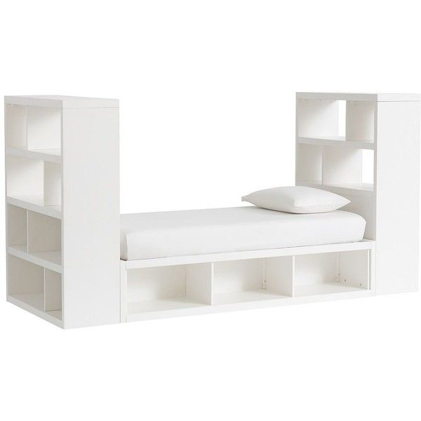 PB Teen Store-It Storage Tower Daybed Set (1 3-Cubby Daybed + 2 End of... ($1,699) ❤ liked on Polyvore featuring home, furniture, cubby shelves, 4 tier shelving, cubby hole shelf, handmade furniture and 4 shelf