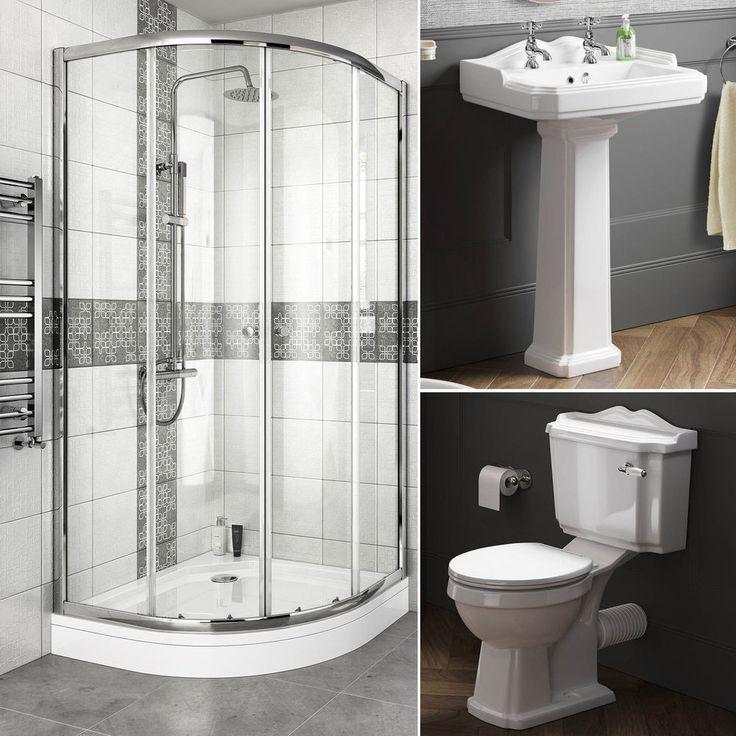 Complete Bathroom Suite Quadrant Shower Enclosure With Toilet and Basin Pedestal in Home, Furniture & DIY, Bath, Bathroom Suites | eBay