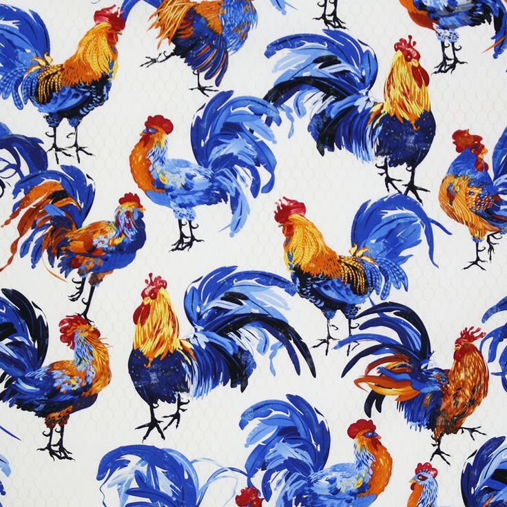 bright and early roosters hens cotton fabric in white designed by evelia for wilmington prints. Black Bedroom Furniture Sets. Home Design Ideas