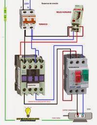 Esquemas eléctricos: Conexionado contactor guardamotor y reloj horario