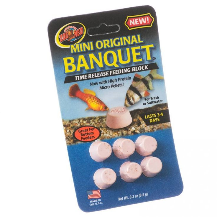 6pk Zoo Med Mini Original Banquet Time Release Feeding Block for fish last 3 to 4 days. In addition to weekend and vacation feeding, they are also a great daily food source for problem feeders such as Plecostomus, Algae Eaters, Redtail Sharks, Gouramis, S