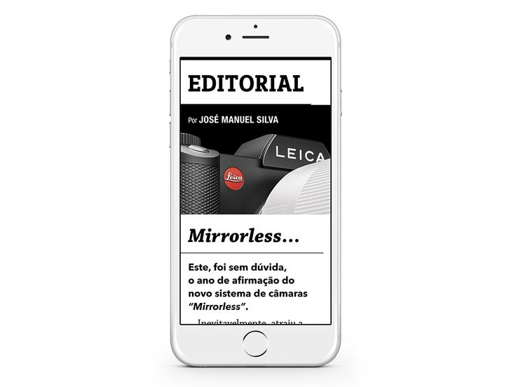 """EDITORIAL - José Manuel Silva: Mirrorless """"This was undoubtedly the year of the new camera system statement ...""""  (Sample some spreads)."""