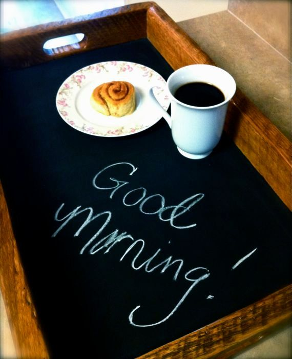 This is a serving tray with a unique chalkboard bottom allowing you to leave notes to a loved one for breakfast in bed, labeling items for a party