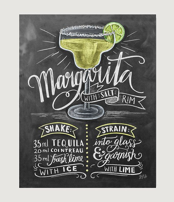 Sugar or salt on the rim? Whether youre enjoying a cookout or relaxing by the pool, margaritas are the perfect summer refresher! Keep the recipe on hand with these colorful illustrations that will give your space a bit of zest.  Lovingly illustrated with a mix of cheer and whimsy, our prints add character to any space or occasion. Frame them around the home or surprise a special someone with these uniquely charming gifts.  All Lily & Val original chalkboard prints are hand-lettered using…