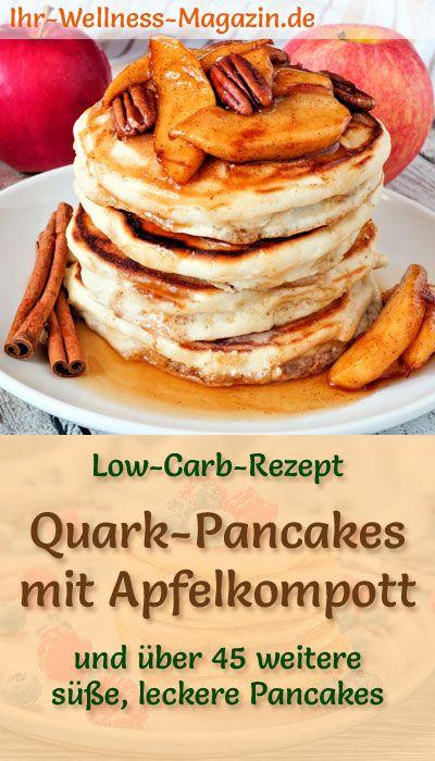 Low Carb Quark-Pancakes mit Apfekompott – süßes Pfannkuchen-Rezept