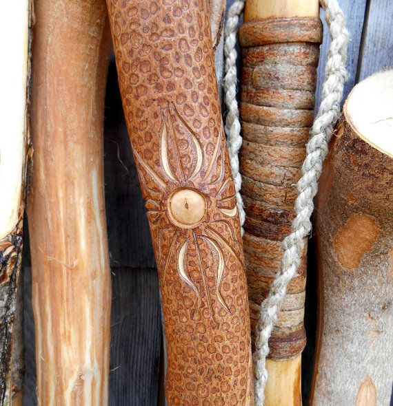 SALE Hand Carved Walking stick with  Sun Bear by bearpawrustics