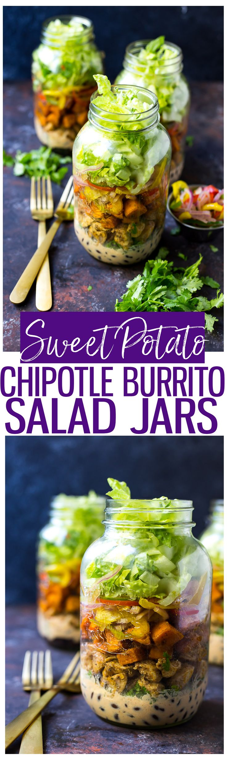Sweet Potato Chipotle Chicken Burrito Jars are full of delicious southwest flavours and protein – they're also a tasty low-carb lunch you can take with youon-the-go!