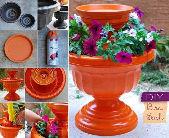 DIY Plastic Bird Bath garden diy craft crafts diy crafts do it yourself diy…