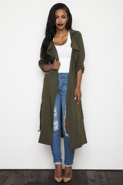Marry an olive lightweight trenchcoat with blue distressed boyfriend jeans to get a laid-back yet stylish look. Go for a pair of tan leather pumps to va-va-voom your outfit.   Shop this look on Lookastic: https://lookastic.com/women/looks/olive-trenchcoat-white-tank-blue-boyfriend-jeans/18899   — White Tank  — Blue Ripped Boyfriend Jeans  — Tan Leather Pumps  — Olive Lightweight Trenchcoat